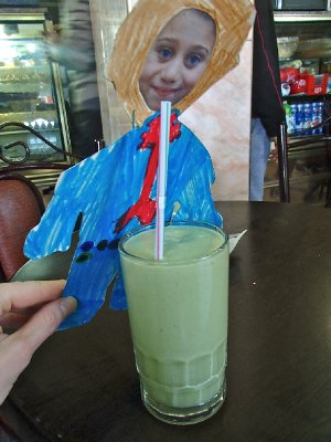 Joe trys the avocado drink - a traditional drink