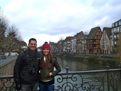 My friend Octav and I on the river that runs through Strasbourg