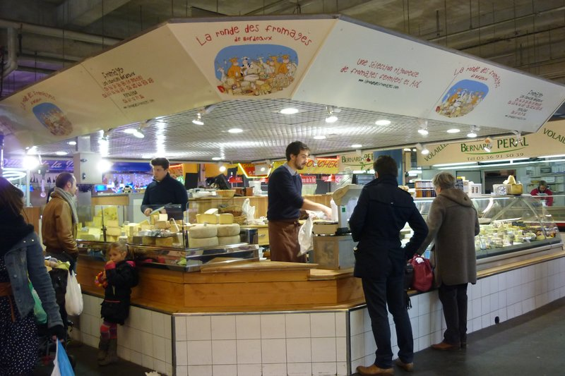 Food stands in Bordeauxs market