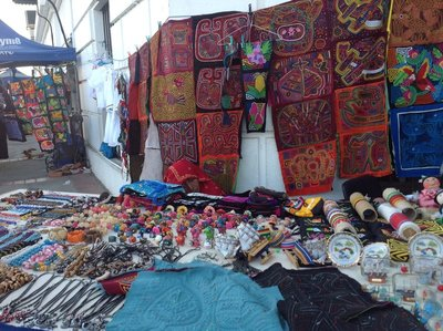 Many little stalls lined the walkways. Fine crafts and needlework were offered.