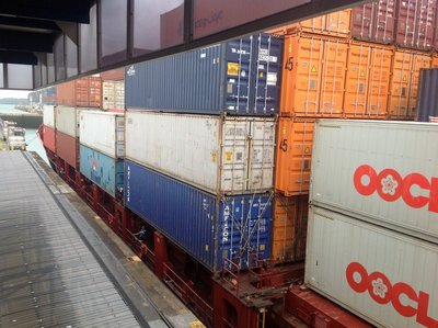 We counted just over 1,000 containers on top of the deck. So that the Panamax is not top heavy, there are close to 4,000 containers below deck.