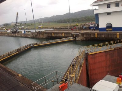 The Gatun Locks in the town of Colon, Panama.