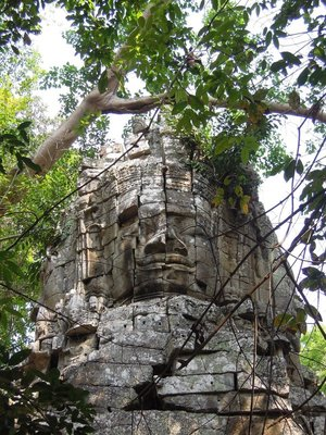 Jan 19. Angkor Thom - South gate. This was built when Buddhism flourished in the early 13th Century.