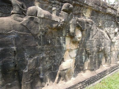 Jan 19. Bas relief of the battles between elephant teams on the southern wall of Angkor Wat.
