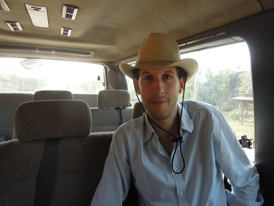 Jeff (from Austria) is also teaching at ACODO. We're heading out to the farm together. I'm trying to convince him he does look good in a hat - mine!