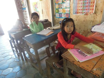 14 JAN - Having fixed the floor, my Kindergarten students settled in to do some schoolwork.