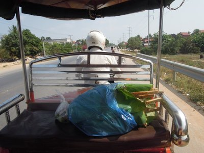 Chickens in the bag and Bunleing driving the tuc-tuc.