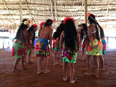 Embera women and a traditional welcoming dance