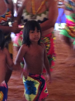 A young Embera girl partakes in the welcoming dance.