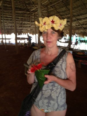 Yvonne looks quite regal in her crown of hibiscus!