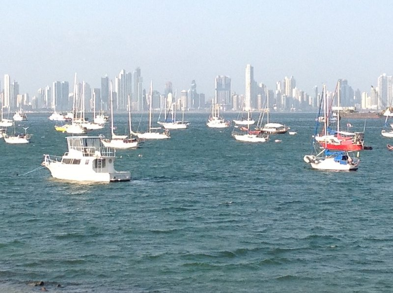Sailboats by the causeway. Panama City centre in the background
