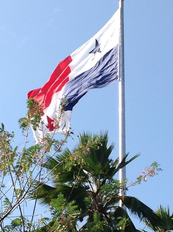 The Panamanian flag welcomes from the top of Ancon Hill