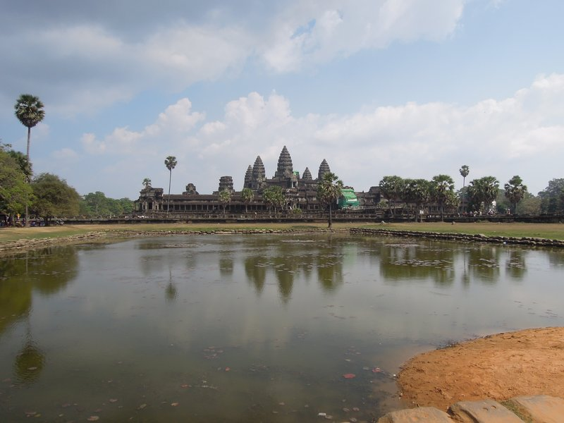 Jan 19. Looking across the small lake to Angkor Wat. Again, built in the 12th Century, with Hindu and Buddhist influences.