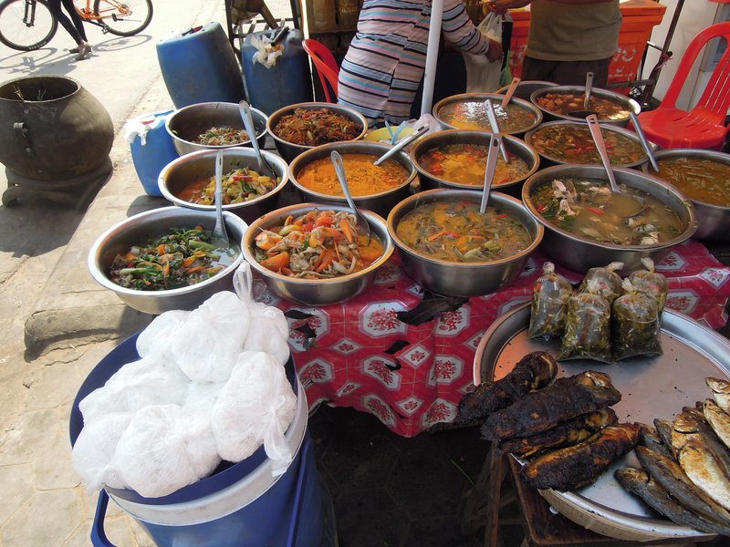 Curries, Fish stew, Fresh vegetables with unusual spices.