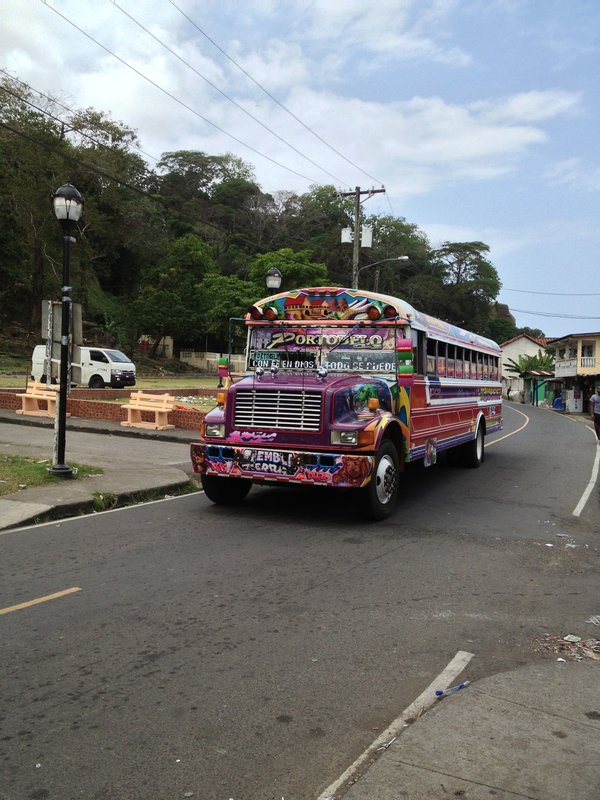 A Local bus, colourfully painted, and just 25 cents to get around town, as far as you want to go.