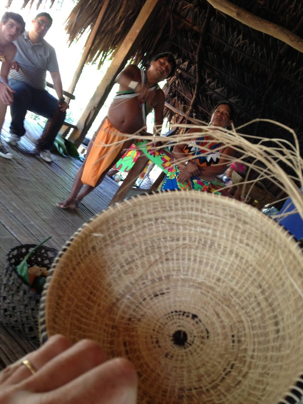 Baskets are made of local canes wrapped with grasses, dyed with plant dyes.