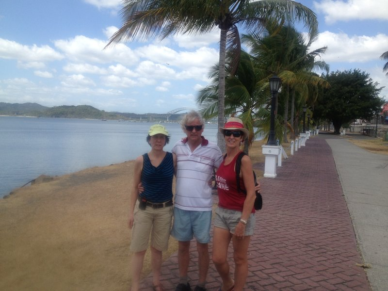 Jude, Eldon and me, with the causeway stretching behind us.