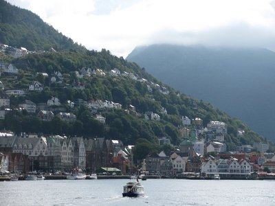 Beautiful view of Bergen hillside from the other side of the fjord.