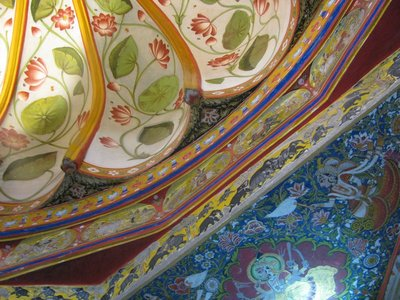 Beautifully painted ceiling in the City Palace