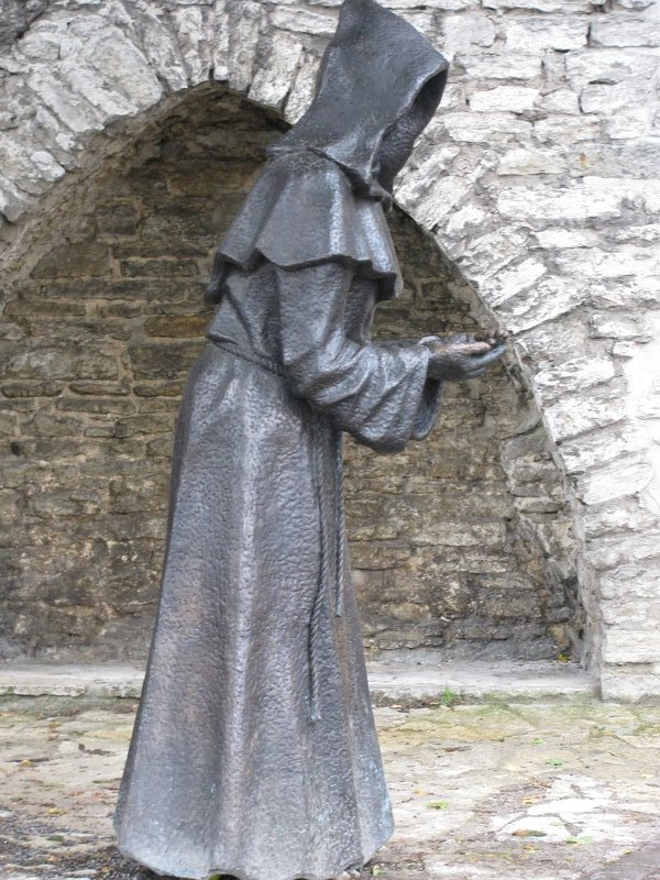 Eerie statue of a monk