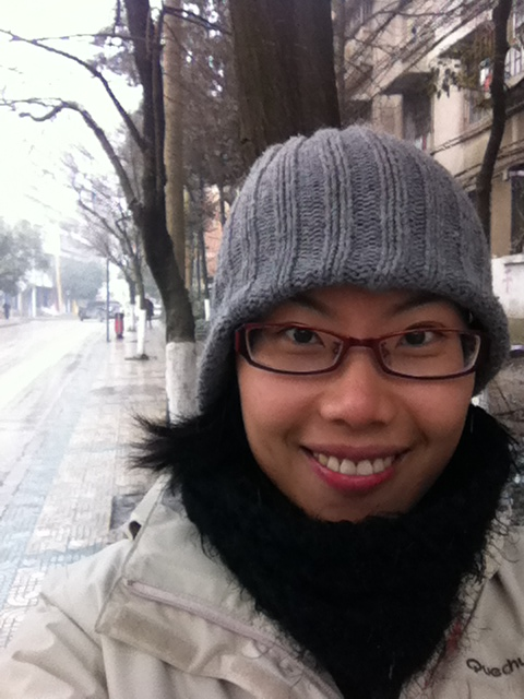 My fashionable winter outfit - snowing in Guiyang
