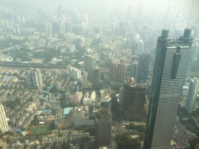 view of shenzhen from 96th floor of Kingkey 100