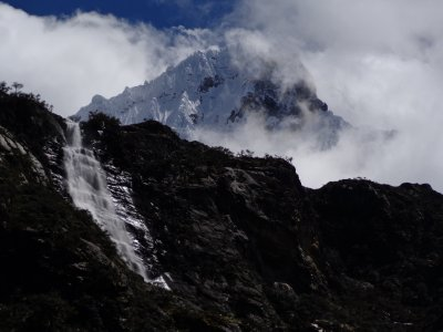 Dwaterfall mountain and clouds