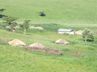 Masai houses on the crater's edge