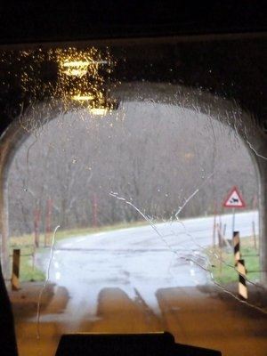 You can see the rain on the coach windscreen as we emerge from a tunnel