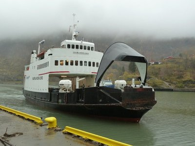 Our ferry arrives to take us to Gudvangen
