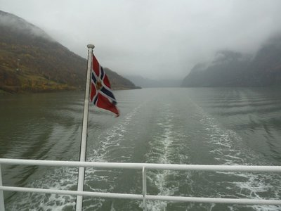 View from the back of the ferry as we set off down Aurlandsfjord