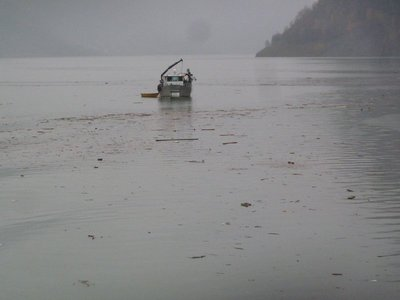 Fishing debris from the previous days flood out of the fjord