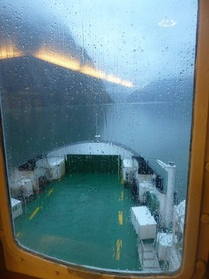 Rain on the window of the Ferry