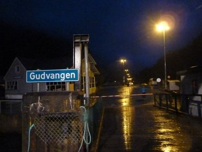 Arriving at Gudvangen - the end of our ferry trip