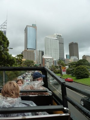 Open-top double-decker bus tour of Sydney - in the rain!