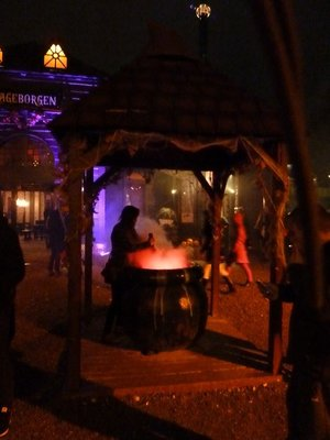 Stirring the Witch's Brew in a big pot at Tivoli