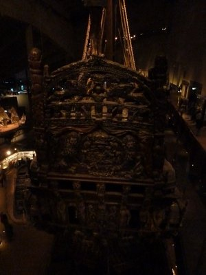 The rear of the Vasa; this was originally highly painted but while the mud the Vasa sank in preserved the wood it destroyed the paint