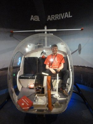 Me sat inside the cockpit of the helicopter on the ABBA 'Arrival' Album