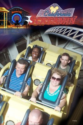 Riding the California Screamin' Roller Coaster - I'm sat in the front on the left