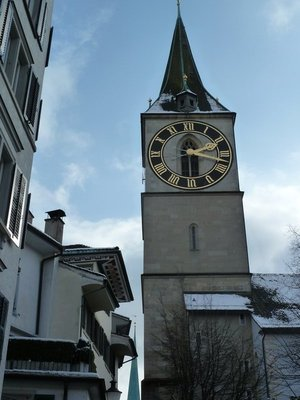 The clock face of St. Peter's Church