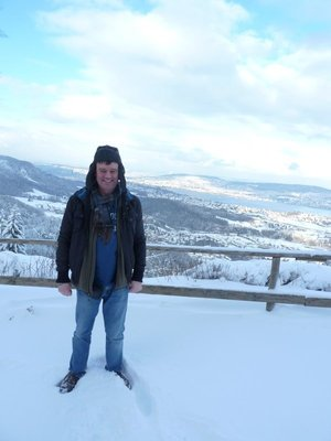 Picture of me on the Felsenegg Summit with a view of Zurich behind me