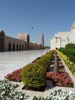 The southern outer sahn (courtyard) and riwaqs (arcades) of the Sultan Qaboos Grand Mosque