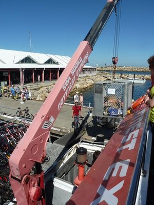 Bicycles and Ballot Boxes being loaded on the Rottnest Ferry at Freemantle