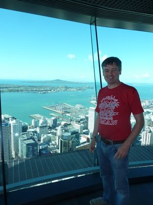 Me on the Skytower Sky Deck admiring the spectacular view of Auckland