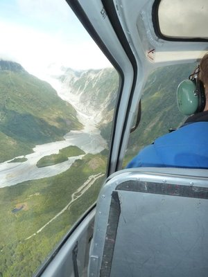 The view from the helicopter flying on to the Franz Josef Glacier