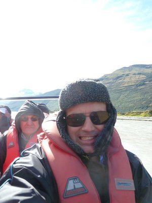 Me on a jet boat racing down the Dart River from somewhere north of Paradise to Glenorchy