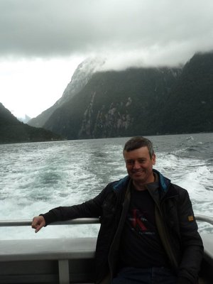 Me enjoying the scenary at Milford Sound