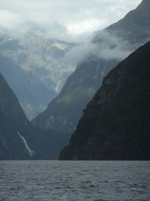 Bowen Falls on the left as we return up Milford Sound