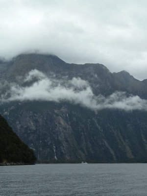 Mitre Peak in Milford Sound (5,551 feet - 1,692 metres), for an idea of scale note the tour boat at its base!