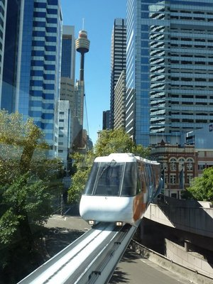 The Sydney Monorail coming into its Darling Harbour Station on Pyrmont Bridge